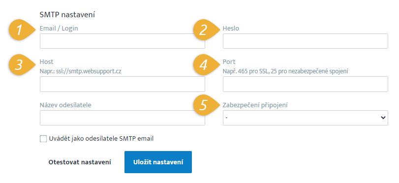 SMTP nastaveni