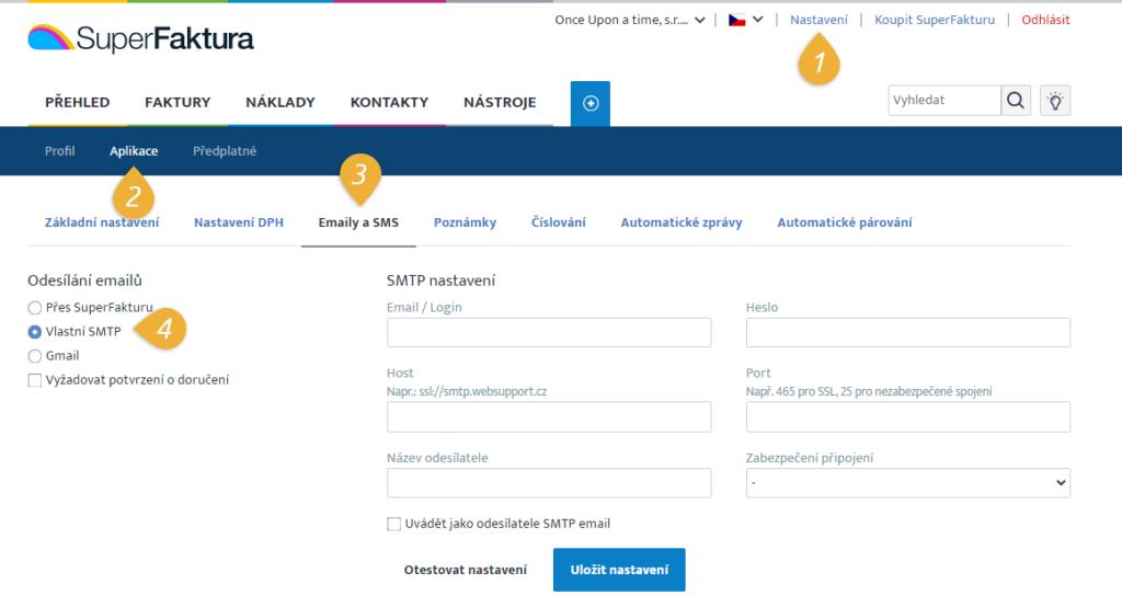 cesta k nastaveni SMTP